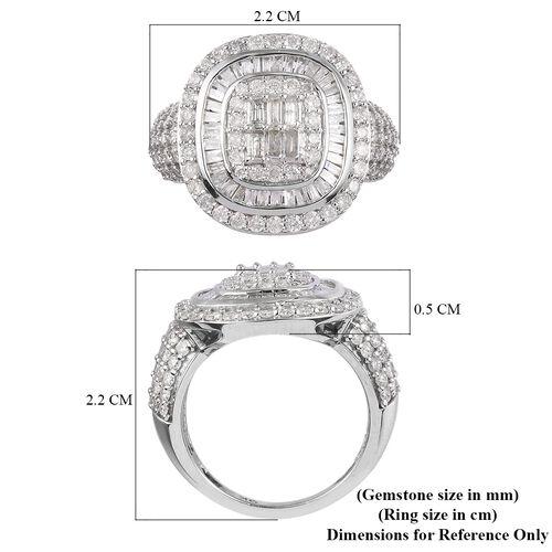 9K White Gold SGL Certified Diamond (I3-GH) Diamond Cluster Ring 2.00 Ct.