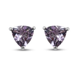 Pink Amethyst Solitaire Stud Push Post Earring in Platinum Overlay Sterling Silver 1.28 ct  1.275  C