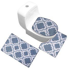 3 Piece Set - Anti-Slip Bathmat (50x80cm), Toilet Seat Cover (40x50cm) and Contour Mat (39x48cm) - T