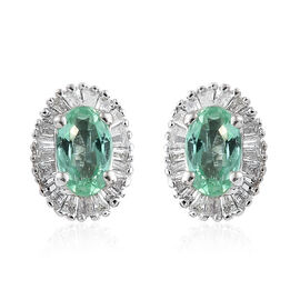 Colombian Emerald (0.50 Ct) and Diamond 9K W Gold Earring  0.750  Ct.