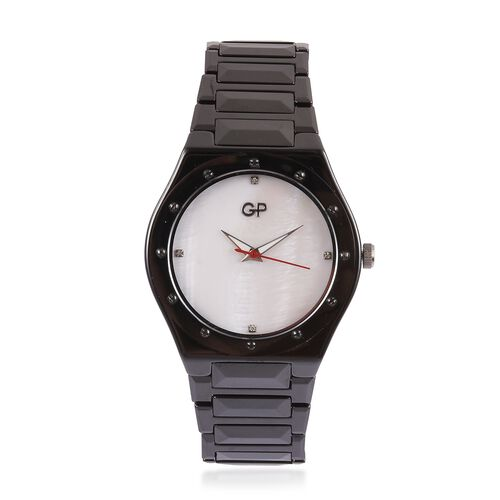 GP Swiss Movement White MOP Dial with Diamond 3ATM Water Resistant Watch in ION Plated Black Tone St