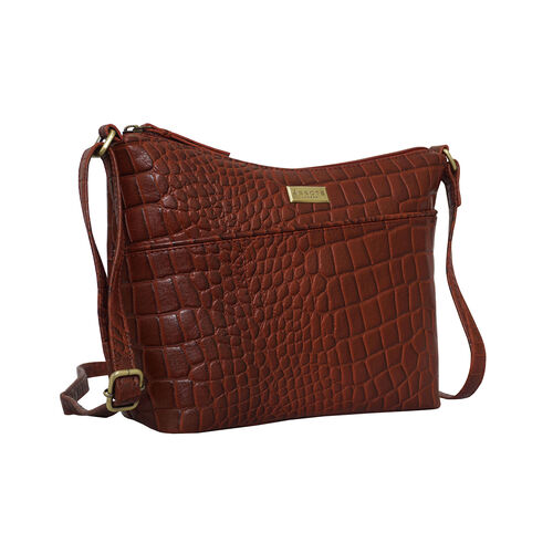Assots London CAROL Croc Embossed Leather Crossbody Bag with Adjustable Shoulder Strap (Size 29x21x9cm) - Red