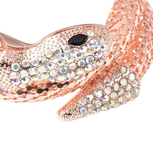 Simulated Mystic White Crystal and Simulated Black Spinel Snake Bracelet (Size 6.5) in Rose Gold Plated