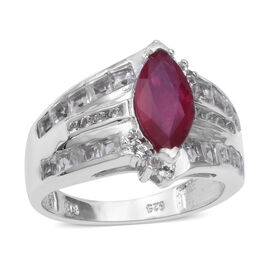 African Ruby (Mrq 12x6 mm), Natural White Cambodian Zircon Ring in Rhodium Overlay Sterling Silver 4