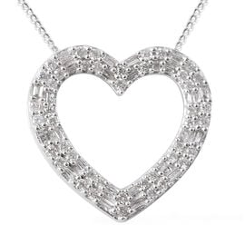 9K White Gold SGL Certified Diamond (Rnd and Bgt) (I3/G-H) Heart Pendant With Chain 0.33 Ct.