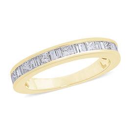 Limited Edition- ILIANA 18K Yellow Gold IGI Certified Diamond (Princess Cut) (SI/G-H) Half Eternity Ring 1.000 Ct.