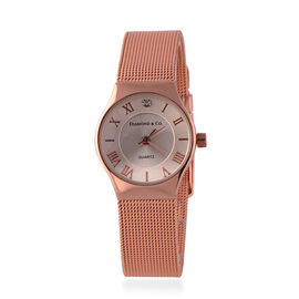 DIAMOND and CO LONDON Diamond Studded Bracelet Watch with a Stainless Steel Mesh Style Strap in Rose