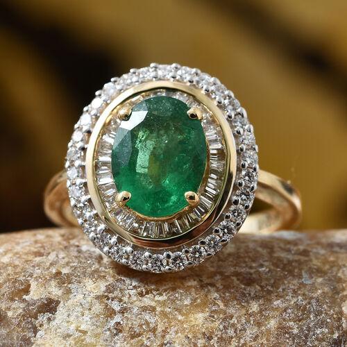 ILIANA 18K Yellow Gold AAA Santa Terezinha Premium Emerald (Ovl 9x7 mm,1.60 Ct), Diamond (SI/G-H) Ring 2.000 Ct.