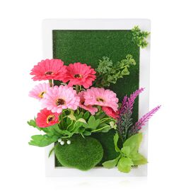 Home Decor - Wall Hanging Artificial Jamesonii Flower Frame (Size 29.5x19 Cm) - Colour Pink, Green a
