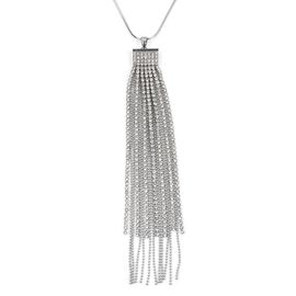 White Austrian Crystal (Rnd) Waterfall Pendant With Chain (Size 30 with 2 inch Extender) in Silver Plated