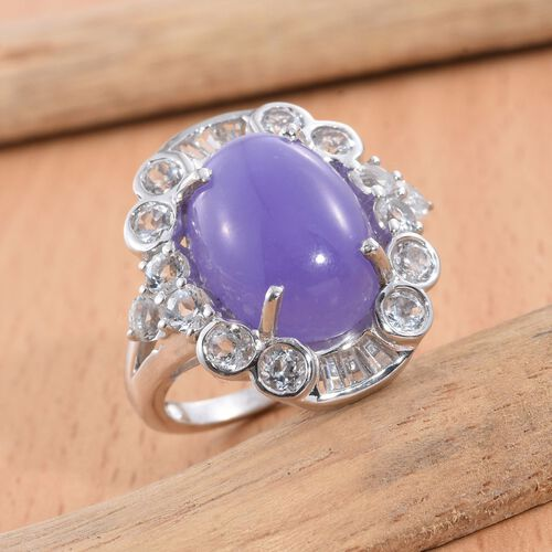 Purple Jade (Ovl 10.75 Ct), White Topaz Ring in Platinum Overlay Sterling Silver 13.000 Ct. Silver wt 5.07 Gms.