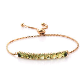 Hebei Peridot (Rnd) Bracelet (Size 6.5 - 9.5 Adjustable) in 14K Gold  Plated  6.000 Ct.