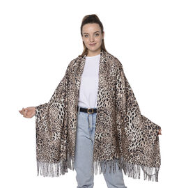 One Time Deal- Reversible Leopard Pattern Shawl with Tassels (Size 180x70+8cm) - Light Pink