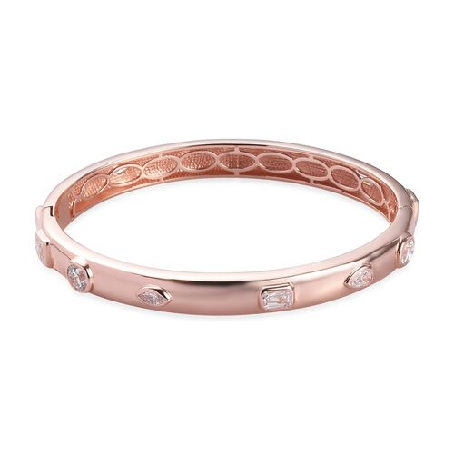 J Francis Rose Gold Overlay Sterling Silver Bangle (Size 7.5) Made with SWAROVSKI ZIRCONIA 9.61 Ct,