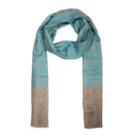 100% Cashmere Wool Geometric Pattern Scarf (Size 70x200 Cm) - Turquoise