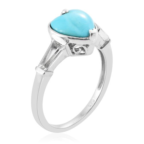 Arizona Sleeping Beauty Turquoise (Hrt 2.50 Ct), White Topaz Ring in Platinum Overlay Sterling Silver 3.500 Ct.