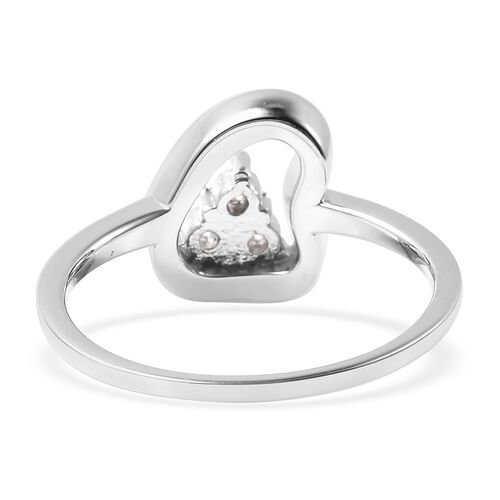 LucyQ Fluid Collection - White Moissanite Ring in Rhodium Overlay Sterling Silver