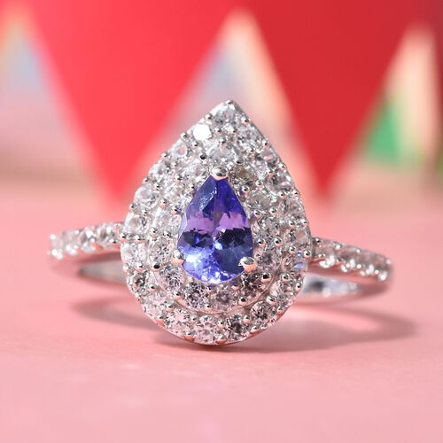 AA Tanzanite (Pear), Natural Cambodian Zircon Ring in Platinum Overlay Sterling Silver 0.96 Ct.