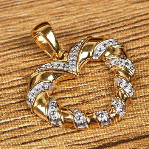 Designer Diamond 14K Gold Overlay Sterling Silver Heart Pendant