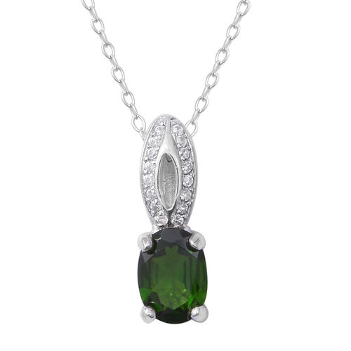 Russian Diopside (Ovl 1.20 Ct), Natural White Cambodian Zircon Pendant With Chain in Rhodium Overlay