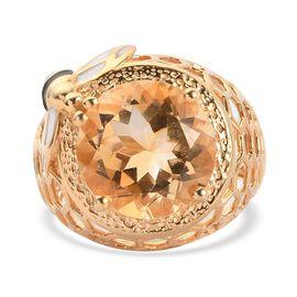 GP Italian Garden Leaf & Flower Collection - Citrine and Kanchanaburi Blue Sapphire Ring in 14K Gold