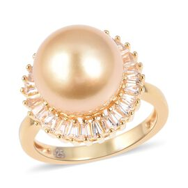 Golden South Sea Pearl and Cambodian Zircon Solitaire Halo Ring in Gold Plated Sterling Silver