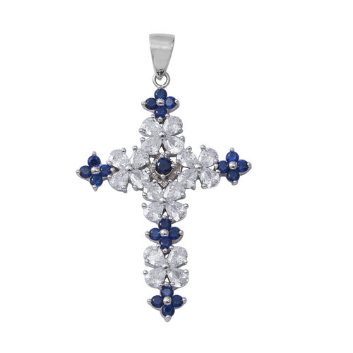 ELANZA Simulated Blue Sapphire (Pear and Rnd),Simulated Diamond Cross Pendant in Sterling Silver