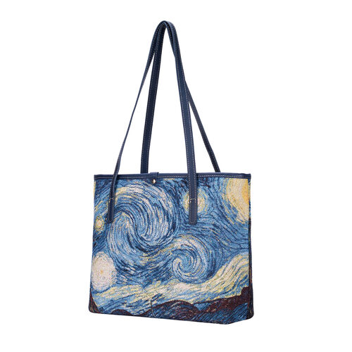 Signare Tapestry - Starry Night Artwork Tote Bag with Dark Blue Scarf