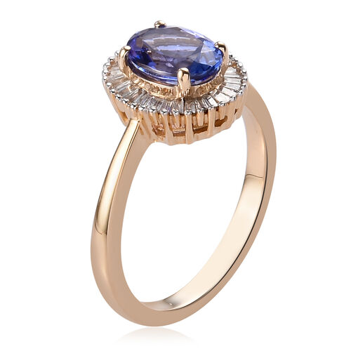 9K Yellow Gold AAA Tanzanite and Diamond Halo Ring 1.50 Ct.