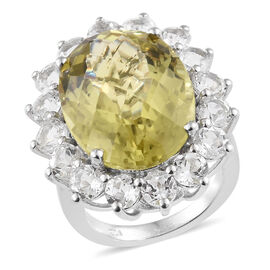 21.50 Ct Green Gold Quartz and White Topaz Halo Ring in Platinum Plated Silver 6.18 grams