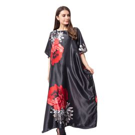 Black and Red Colour Poncho with Peony Pattern (Size 80x128 Cm)