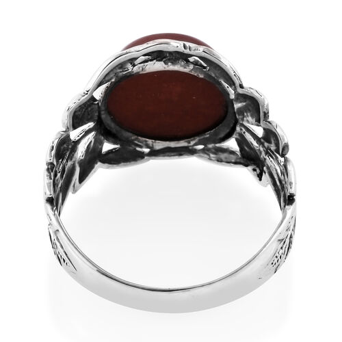 Royal Bali Collection Red Jade (Rnd 12 mm) Solitaire Ring in Sterling Silver 7.740 Ct.