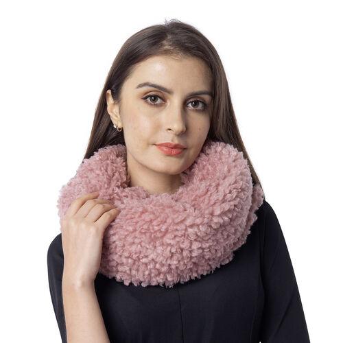 Soft and Fluffy Faux Fur Infinity Scarf - (Size:20x80cm) - Pink