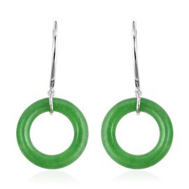 31.75 Ct Green Jade Circle Drop Earrings in Rhodium Plated Sterling Silver