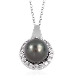 Tahitian Pearl (Rnd 10.5-11 mm), Natural White Cambodian Zircon Pendant With Chain in Rhodium Overlay Sterling Silver