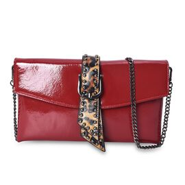 100% Genuine Leather Bag with Detachable Shoulder Chain Strap and Buckle Belt in Leopard Pattern (Si