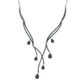 Limited Edition- Designer Inspired Blue Diamond (Rnd) Multi Drop Adjustable Necklace (Size 20) in Pl