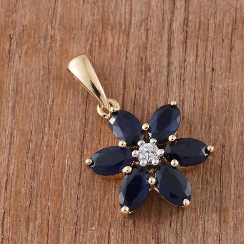 9K Yellow Gold 1.75 Ct AAA Kanchanaburi Blue Sapphire Flower Pendant with Natural Cambodian Zircon