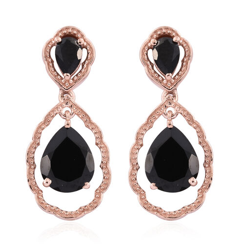 Boi Ploi Black Spinel (Pear) Tear Drop Earrings (with Push Back) in Rose Gold Overlay Sterling Silver 6.000 Ct.