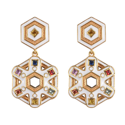 Orange, Yellow and Multi Sapphire Earrings (with Push Back) in 14K Gold Overlay Sterling Silver 1.00