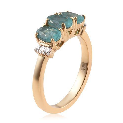 ILIANA 18K Yellow Gold AAAA 100% Natural Grandidierite (Ovl), Diamond (SI/G-H) Ring 1.35 Ct.
