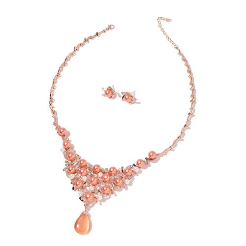 Simulated Peach Cats Eye, Simulated Pearl and White Austrian Crystal BIB Necklace (18 with 3 inch Extender) and Floral Stud Earrings (with Plastic Push Back) in Rose Gold Tone