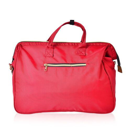 One Time Deal-Ture Red Colour Large Travel Bag with Adjustable Shoulder Strap (Size 44X34X19 Cm)