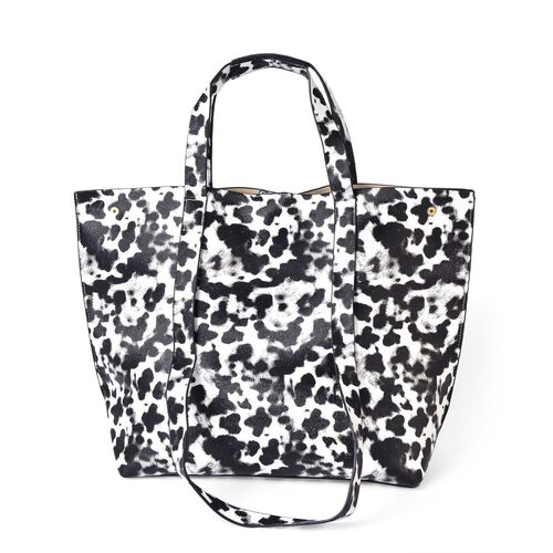 Designer Inspired - Monochrome Leopard Pattern Top Handle and Shoulder Handle Tote Bag (Size 47X33X33X13 Cm)