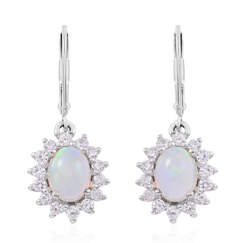 Ethiopian Welo Opal (Ovl), Natural White Cambodian Zircon Lever Back Earrings in Rhodium Plated Sterling Silver 3.000 Ct.