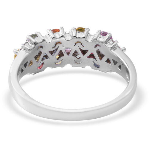 Rainbow Sapphire (Rnd), Natural White Cambodian Zircon Ring in Rhodium Plated Sterling Silver 2.320 Ct.