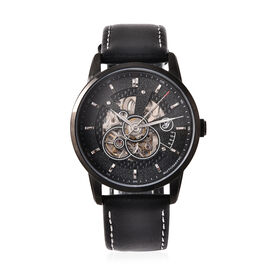 GENOA Classy Mechanical Watch with Black Leather Strap