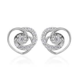 J Francis - Platinum Overlay Sterling Silver (Rnd) Heart Earrings (with Push Back) Made With SWAROVS