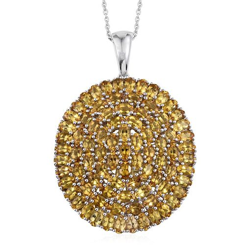 Marialite (Ovl) Cluster Pendant With Chain in Platinum Overlay Sterling Silver 15.500 Ct.