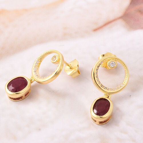 Isabella Liu Sea Rhyme Collection - African Ruby and Natural Cambodian Zircon Earrings (with Push Back) in Yellow Gold Overlay Sterling Silver 3.96 Ct.